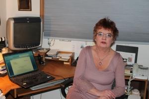 Emma Palova in her writing studio in Lowell, Michigan.