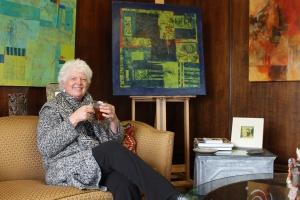 Abstract artist Kathleen Mooney in her new Gallery 318.