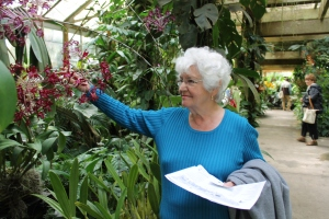 Mom Ella at Selby Garden in Sarasota, Florida.