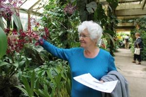 Mom Ella at Selby Garden in Sarasota, Florida.