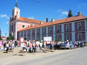 Saint Mary's church in Stipa, Czech Republic during Marian pilgrimage days.