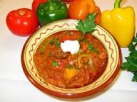 The famous dish Hungarian goulash.