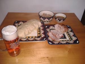 Czech festive fair, pork roast, sauerkraut, dumplings & golden lager.