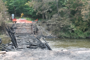 The remains of White's Covered Bridge after the July 7th fire.