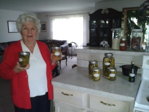 Ella Konecny with flagship sweet and sour pickles.
