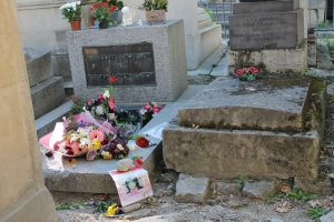 Jim Morrison's grave at Pere Lachaise in Paris.