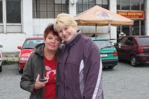 Emma Palova with longtime friend Liba Hlavenka in front of train station Zlin.