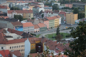 Bird's eye view of Brno from Spilberg Castle.