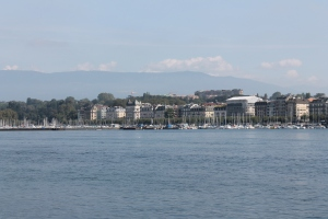 Geneva with backdrop of Alps.