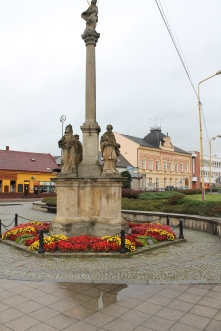 Main Square Vizovice with Marian Column.