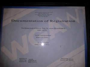 Western Guild of America, West screenplay certificate for Riddleyville Clowns