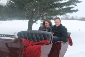 Jake Pala with Maranda Ruegsegger on a romantic sleigh ride with Common Gentry in Sparta