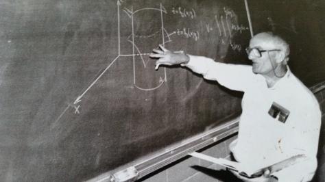 Dad explains triple integrals to FSU students