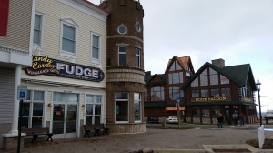 Mackinaw City downtown fudge and souvenir shops.