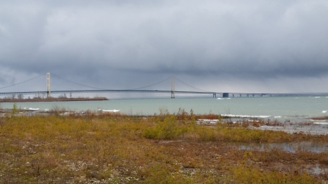 The Mackinac Bridge swings over the Straits.
