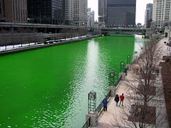 Chicago river turns green on Saint Pat's.