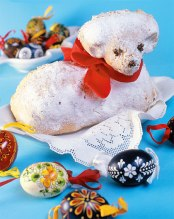 Easter lamb baked like a pound cake with decorated eggs.