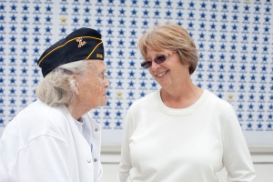Lynn Mason speaks with veteran Juanita Woodward on her 2014 campaign trail