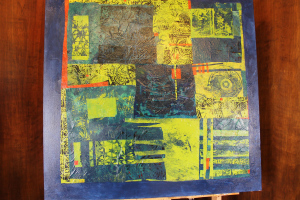 Abstract art by Kathleen Mooney inspired by quilting.