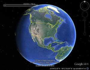 Google Earth image with sun light.