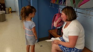 Ella Chavent with one of the teachers at St. Pat's.