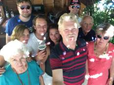 Our international family clan on July 4th under the pergola.