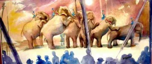 Circus elephants by artist Jan Johnson of Lowell.